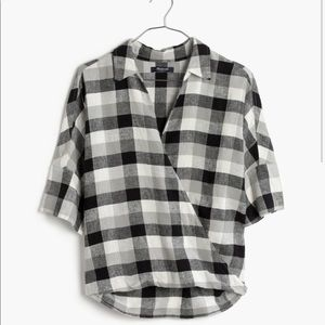 Madewell courrier drape front checkered shirt